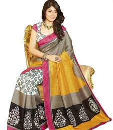 Buy Gray and Yellow embroidered cotton_silk saree with blouse art-silk-saree online