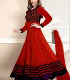 Buy Red embroidered georgette semi stitched salwar with dupatta anarkali-salwar-kameez online