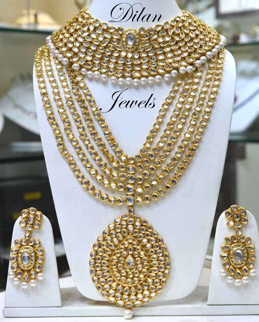 Wedding Wear Bridal Gold Necklace Set Rs 150000 Set: Buy Madhuri Kundan Bridal Set Online