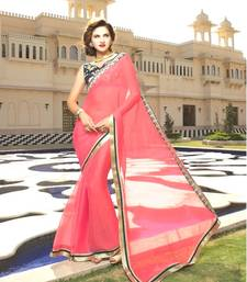 Buy Pink and Blue woven satin saree with blouse satin-saree online