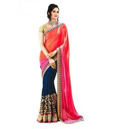 Buy Pink and Blue Embroidred Georgette Designer Half Saree with Blouse georgette-saree online
