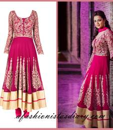 Buy Rani Pink embroidered georgette semi stitched salwar bollywood-salwar-kameez-online online