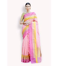 Buy Pink woven silk saree with blouse banarasi-silk-saree online