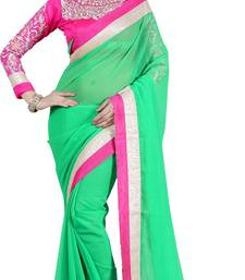 Buy GREEN EMBROIDERY GEORGETTE SAREE WITH BLOUSE shimmer-saree online
