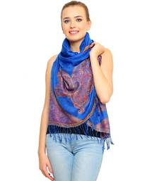 Buy Uniscarf Electric blue Printed Modal Shawl stole-and-dupatta online