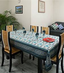 Buy Hand Block Gold Print Blue and Grey Table cover set table-cloth online