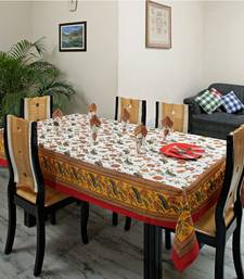 Buy Pale Orange Yellow Table ccover set with floral Gold prints table-cloth online