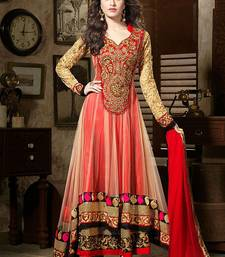 Beige and red embroidered georgette semi stitched salwar with dupatta shop online