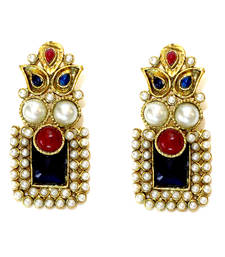 Buy Blue & Red Stone Drop Earrings danglers-drop online