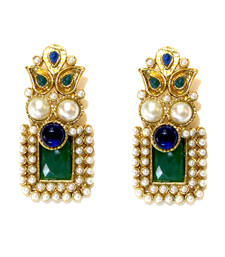 Buy Green & Blue Stone Drop Earrings danglers-drop online