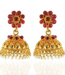Buy Timeless Beauty Gold plated kemps jhumka danglers-drop online
