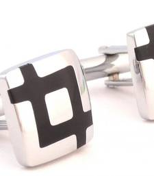 Buy Black Checks Glossy Finish Square Cufflink For Men Other online