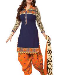 Buy Blue embroidered cotton semi stitched salwar with dupatta eid-special-salwar-kameez online