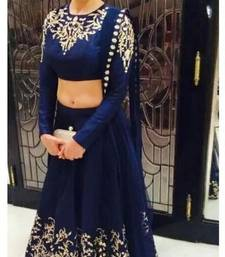 Buy Blue Georgette Lehenga With Dupion Blouse bollywood-lehenga online