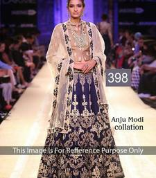 Buy Designer Blue , Beige and Cream Velvet Embroidered Lehenga bollywood-lehenga online