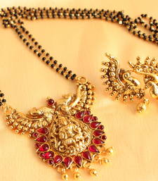 Buy Divine antique kemp  lakshmi pendant mangal sutra with earrings mangalsutra online