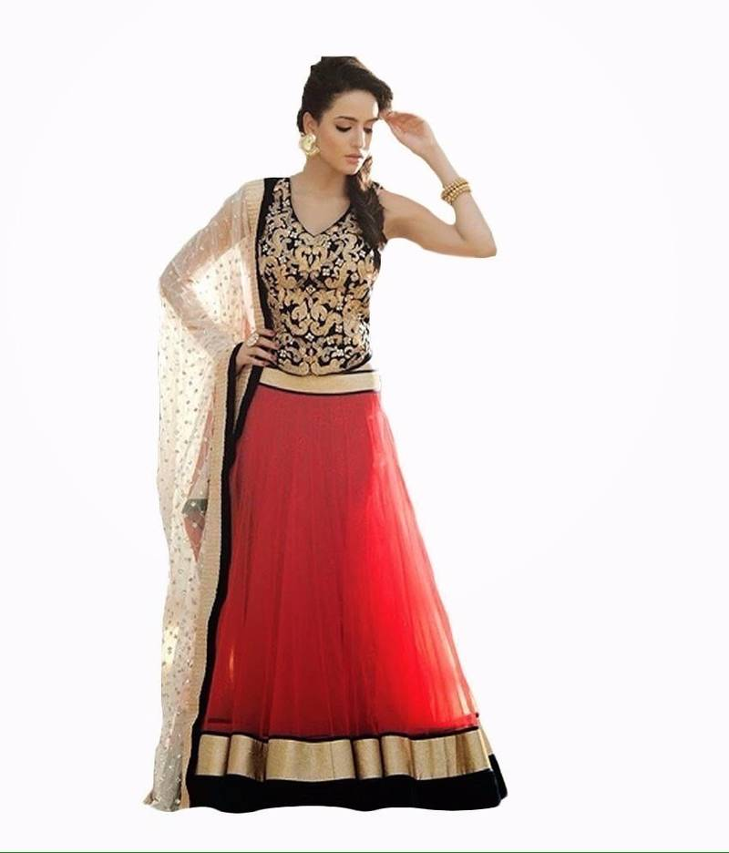 Buy Designer Red Long Lengha Chowli With Blouse Online