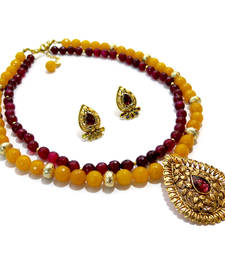 Buy Yellow & Red Agate Necklace & Earring necklace-set online