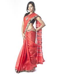 Buy Red Ikat Tusser Silk Saree ikat-saree online