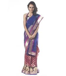 Buy Blue & Purple Banaras Half & Half silk-saree online