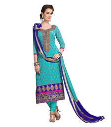 Buy Trishulom Origional Sky Blue embroidered Chanderi unstitched salwar with dupatta dress-material online