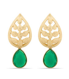 Buy Freindship Day Special Gold Plated Designer Green Earrings danglers-drop online
