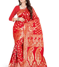 Buy red plain art_silk saree with blouse banarasi-silk-saree online
