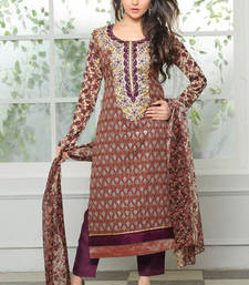 Buy Purple embroidered Georgette  unstitched salwar with dupatta party-wear-salwar-kameez online