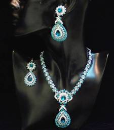 Buy PARTY WEAR STYLISH N ELEGANT ZIRCON N COLORED STONE NECKLACE SET necklace-set online