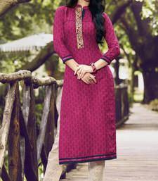 Buy Pink Pure Cotton Stitched Printed With Embroidery Kurti kurtas-and-kurti online
