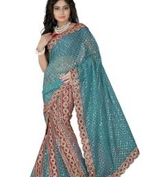 Blue embroidered net saree with blouse shop online