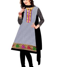 Buy silver embroidered cotton unstitched salwar with dupatta dress-material online