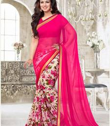 Buy Pink  haf&haf goregette saree with blouse georgette-saree online