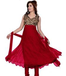 Buy Red embroidered Georgette semi stitched salwar with dupatta eid-special-salwar-kameez online