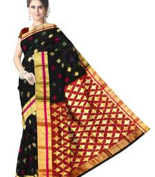 Buy Black Handwoven Pure Silk Chanderi Saree with Blouse jute-saree online