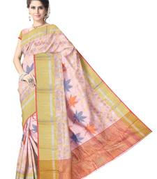 Buy Baby Pink Handwoven Pure Silk Chanderi Saree with Blouse chanderi-saree online