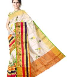 Buy Off-White Handwoven Pure Silk Chanderi Saree with Blouse chanderi-saree online