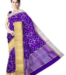 Buy Blue Handwoven Pure Silk Chanderi Saree with Blouse chanderi-saree online