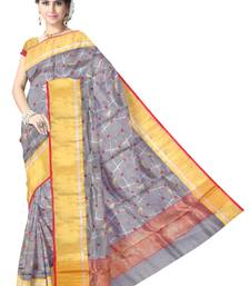 Buy Grey Handwoven Pure Silk Chanderi Saree with Blouse chanderi-saree online