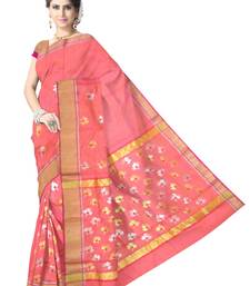 Buy Peach Pink Handwoven Silk Cotton Chanderi Saree with Blouse chanderi-saree online