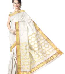 Buy Off-White Handwoven Silk Cotton Chanderi Saree with Blouse chanderi-saree online