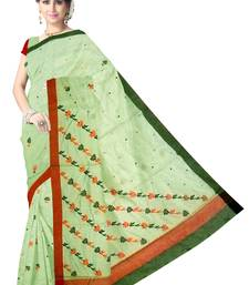 Buy Pista Green Handwoven Silk Cotton Chanderi Saree with Blouse chanderi-saree online