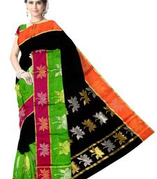 Buy Black Handwoven Silk Cotton Chanderi Saree with Blouse chanderi-saree online