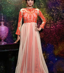 Buy Orange embroidered net semi stitched party-wear-gowns party-wear-gown online