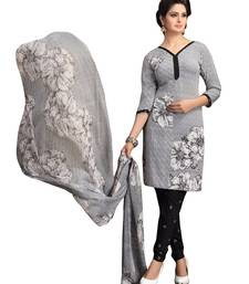 Buy Grey printed Crepe unstitched salwar with dupatta dress-material online