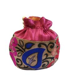 Buy Leaf Design Small Raw Silk Potli (Pink) potli-bag online