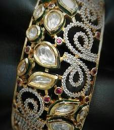 Buy Kundan and diamonds bracelet with invisible setting bangles-and-bracelet online