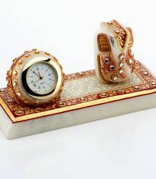 Buy Marvel In Marble - Gold Embossed Lord Ganesh With Watch_49 ganesh-chaturthi-gift online