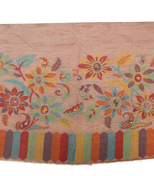 Buy Hand-made Beige Coloured Pashmina Blend Shawl shawl online