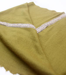 Buy Hand-made Dark Olive Coloured Pashmina Blend Shawl shawl online